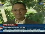 No está prevista fecha para retorno de Chávez: Villegas