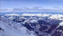 Anouck & Elodie Mouthon : Couloir des Cosmiques en snowboard.