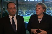 Interview avec Angela MERKEL au Stade de France avant le match France-Allemagne