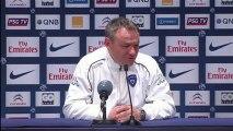 Conférence de presse Paris Saint-Germain - SC Bastia : Carlo ANCELOTTI (PSG) - Frédéric HANTZ (SCB) - saison 2012/2013