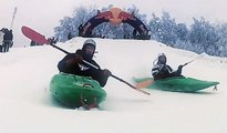KAYAK on Snow !! Red Bull Snow Kayak Race in Estonia - 2013