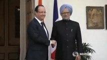 France's François Hollande meets Indian PM Singh