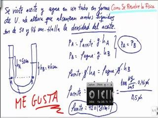 Calcular la densidad del aceite en un tubo en U con agua Fisica Fluidos