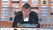 Conférence de presse FC Lorient - Evian TG FC : Christian  GOURCUFF (FCL) - Pascal DUPRAZ (ETG) - saison 2012/2013