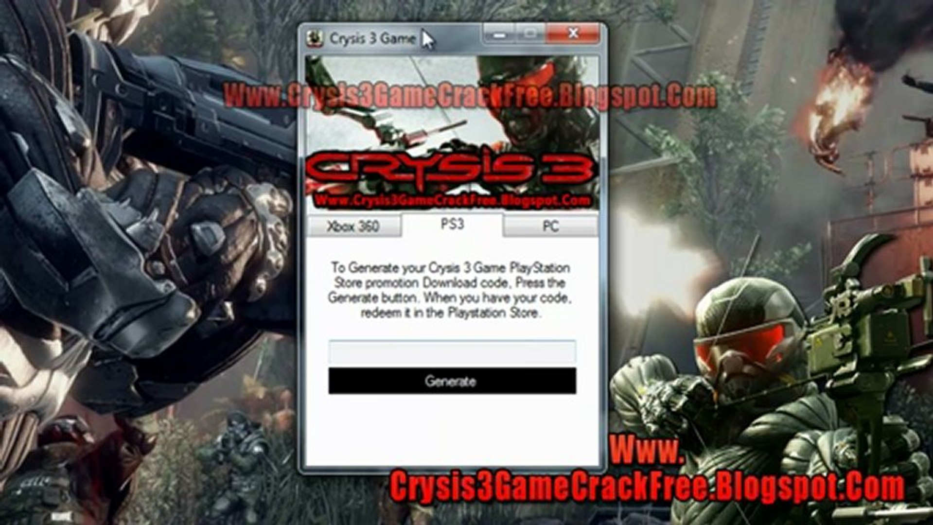 How to Install Crysis 3 Game Free on Xbox 360 PS3 And PC - video dailymotion