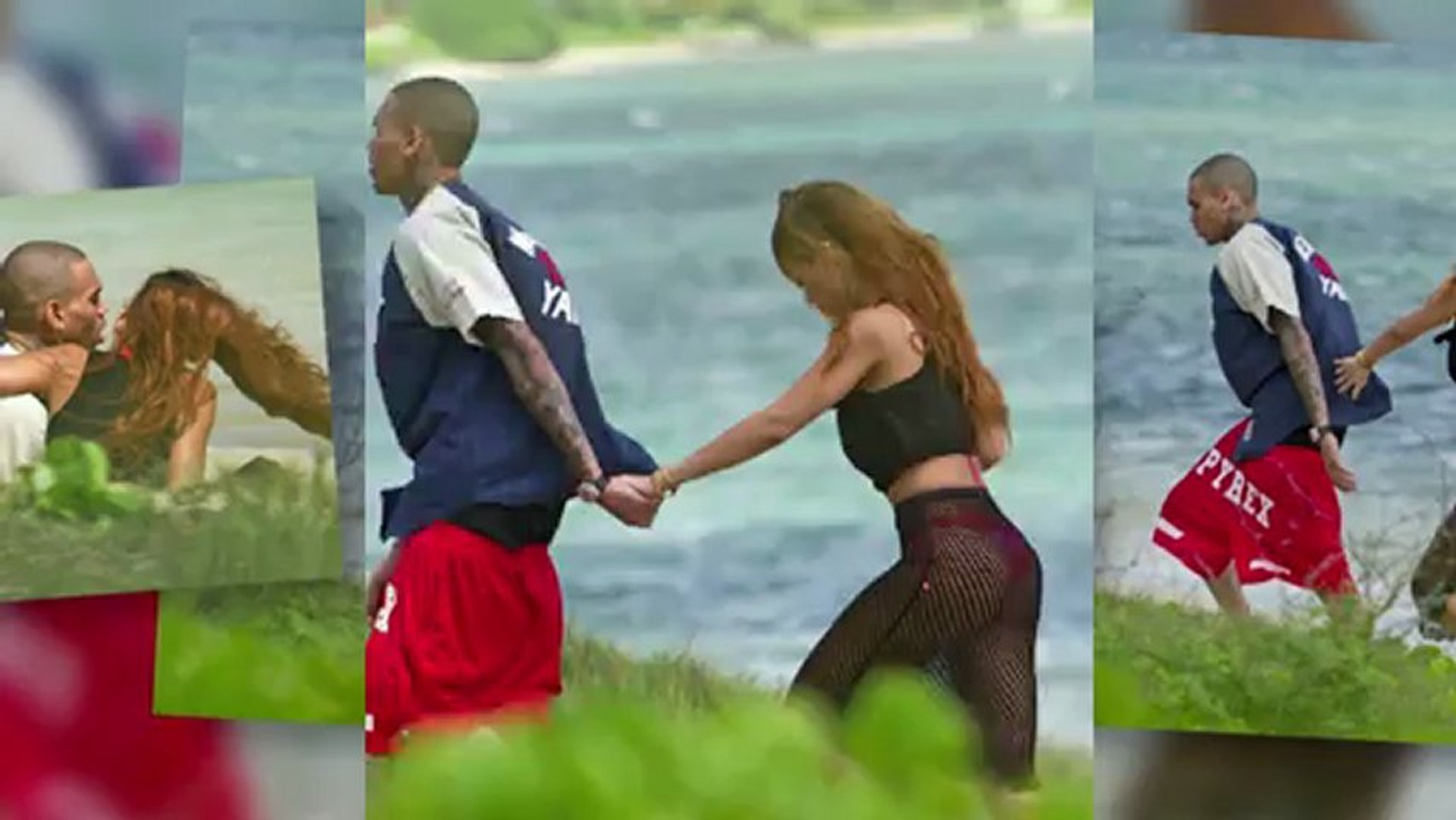 Rihanna Dons Racy Fishnet Skirt For Hawaiian Birthday Stroll With Chris Brown