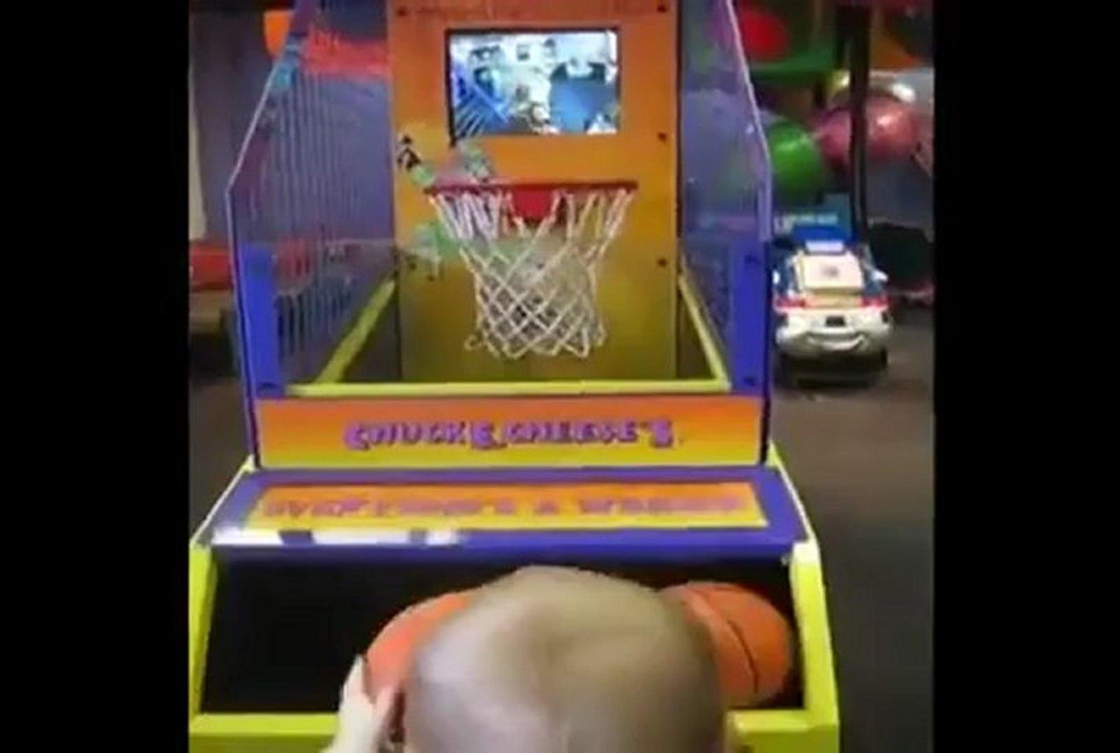 Amazing kid playing basket ball