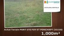 A vendre - Terrain - PORT STE FOY ET PONCHAPT (33220) - 1 000m²