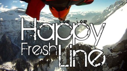 Happy Fresh Line - (real) Winter WingSuit BASE Jumping 2013