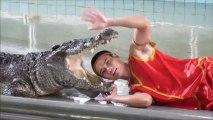 Homme rentre sa tête dans la bouche d'un crocodile