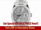 [SPECIAL DISCOUNT] Rolex Mens Platinum President Silver Diamond Dial