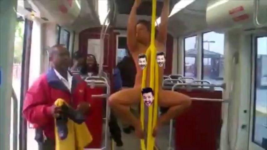 Une femme folle nue dans un bus à San Francisco (censuré)