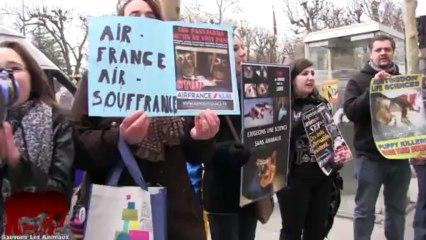 Rassemblement anti vivisection devant les agences d'Air France (16.03.2013)