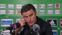 Conférence de presse AS Saint-Etienne - Paris Saint-Germain : Christophe  GALTIER (ASSE) - Carlo ANCELOTTI (PSG) - saison 2012/2013