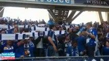 Les supporters troyens dans les gradins du stade Delaune