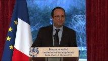 Discours du président de la République lors de la réception des participantes au premier Forum mondial des femmes francophones