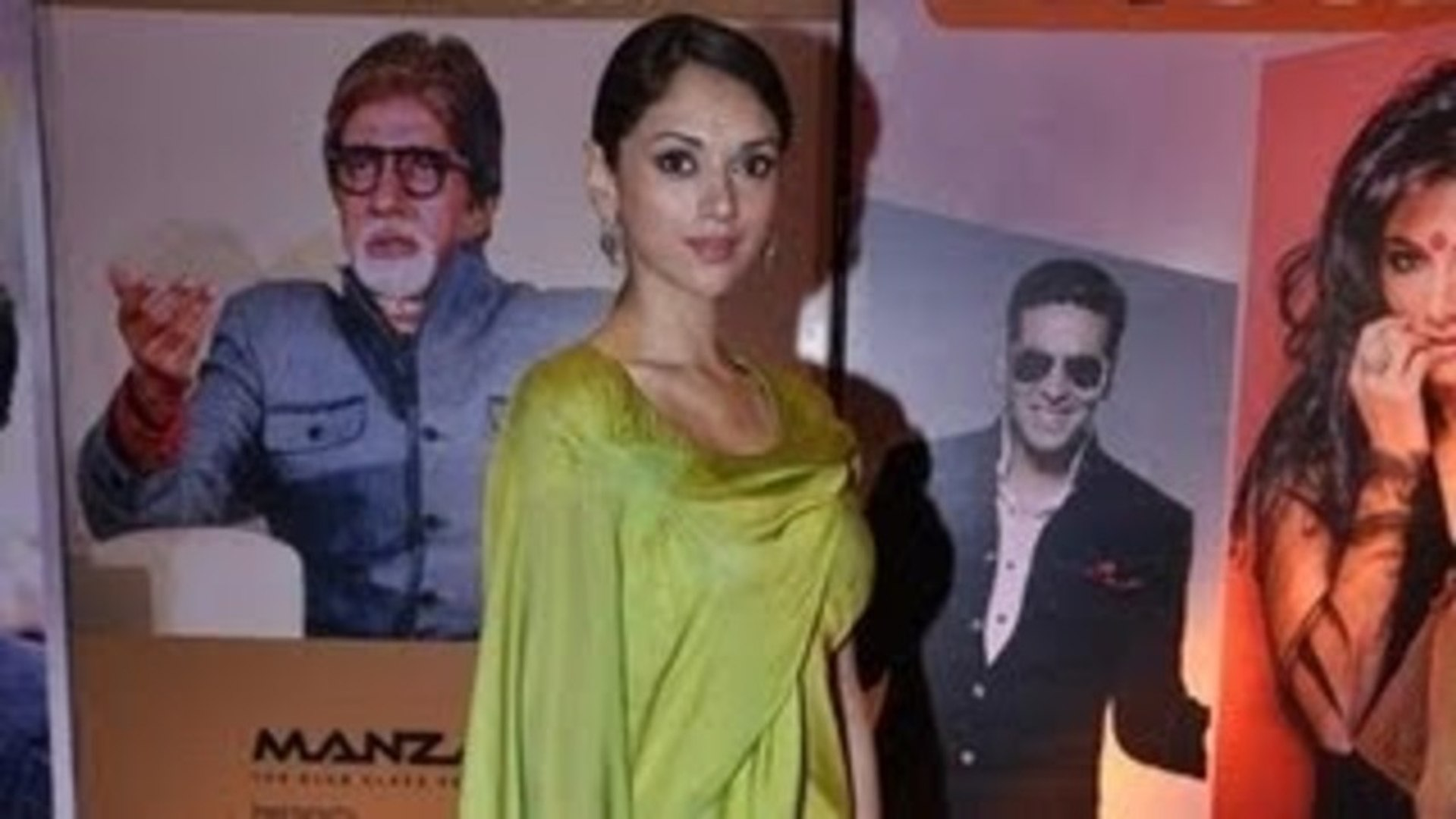 Aditi Rao Hydari In Lime Colour Gaurav Gupta Outfit @ HT Most Stylish Awards 2013 !