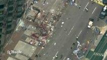 Scène de chaos vue d'hélicoptère après l'explosion de Boston