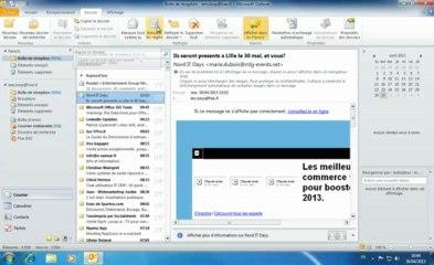 Outlook 2010 | Premiere utilisation du ruban