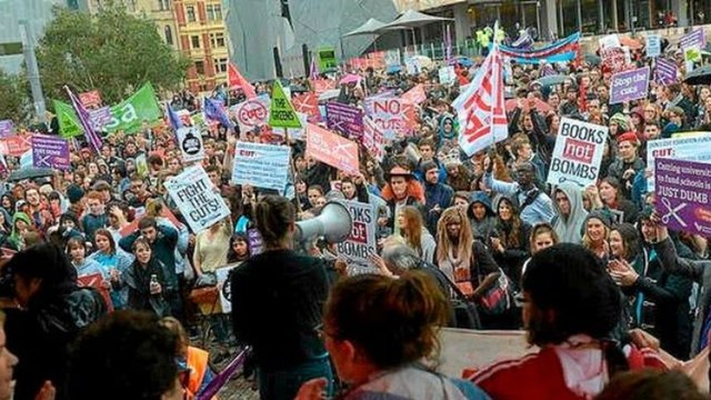 Australian university students rally against funding cuts