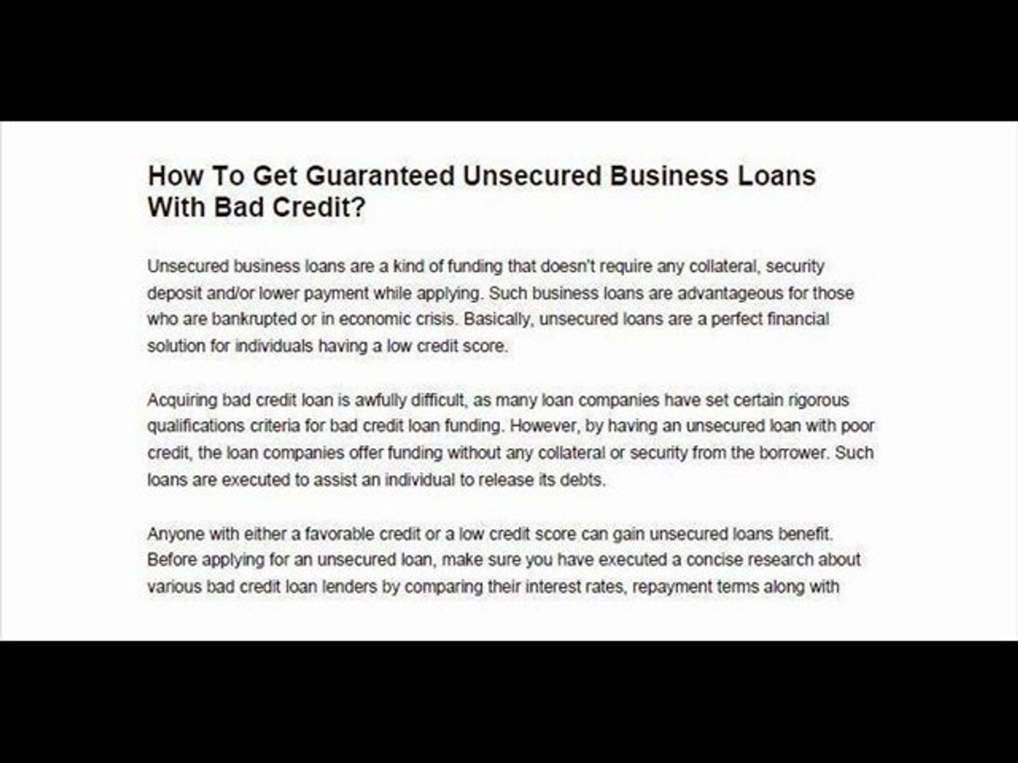 Unsecured Bad Credit Loans >> How To Get Guaranteed Unsecured Business Loans With Bad Credit