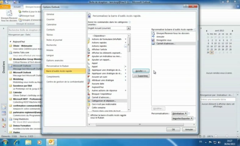 Microsoft Outlook | barre outils acces rapide