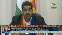Presidentes Evo Morales y Nicolás Maduro realizan acuerdos