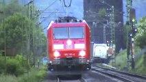 Züge bei Erpel, MRCE 185, Fret Prima, Crossrail 185, ERS 189, 151, 145, 2x DB185, 101, DB189, 143