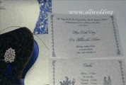 W-4426, 250 GSM,Navy Blue Color, Shimmer Ivory With One Sided Texture Hindu Wedding Invitations