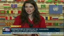 Reconoce FAO a gobierno venezolano por reducir el hambre en el país