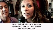 Fête de la Musique à Vincennes en direct  sur VincennesTV.fr 21 juin 19h00 à 20h00 avec Jean-Pierre Coffe Stéphane Jobert & Peter Jean-Pierre Savelli