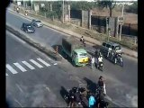 Traffic awareness_Accident_ Bus Hits Two Wheeler Traffic Police