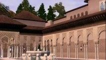 Patio de los leones de la Alhambra de luna