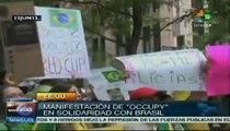 Apoyan manifestantes en Nueva York las movilizaciones brasileñas