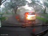 Heavy rain scene captured by Black Vue Vehicle drive Blackbox Recorder