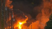 Train carrying petroleum derails, explodes in Canadian town