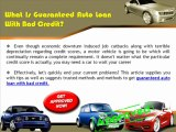 How Guaranteed Auto Loans For Bad Credit Works