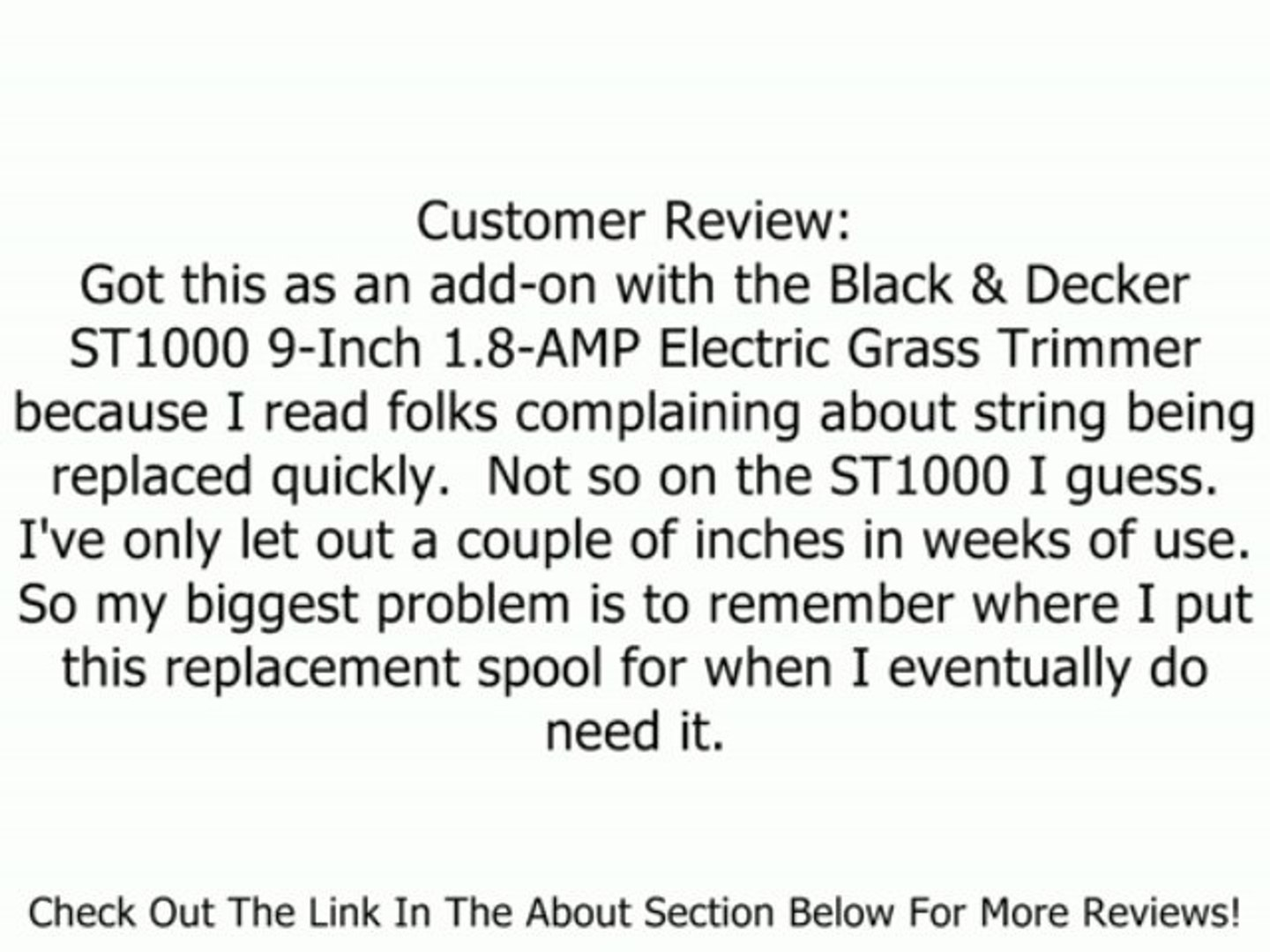 Black & Decker RS-136 String Trimmer Replacement Spool Review