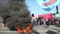Barricadas incendiárias param Santiago no Chile