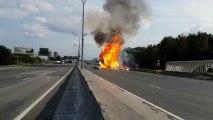 Explosion d'un camion transportant des bouteilles de gaz en Russie