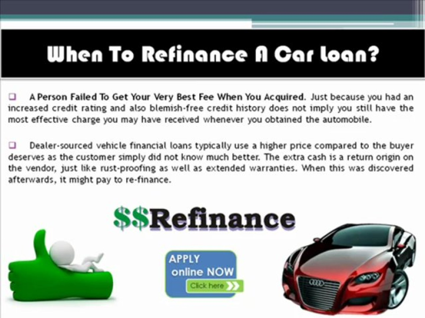 Know When To Refinance Auto Loan From Experts Video Dailymotion