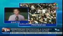 Continúan protestas en favor y en contra de Mohamed Mursi en El Cairo