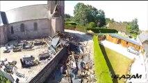 Orages: les dégâts du clocher de Greuville vus d'un drone Témoin BFMTV - 29/07