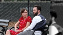 Adam Levine Gets A Visit From Fiancé Behati Prinsloo While Filming with Keira Knightly