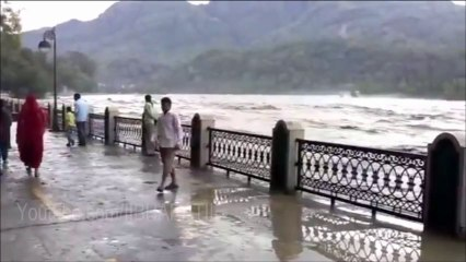 Uttarakhand Flood 2013 - Dangerous Heightened views of the Ganga from Marine Drive of Rishikesh