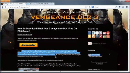 Call of Duty: Black Ops 2 Vengeance DLC Free on PS3