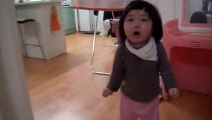 Adorable Korean child Chased By Dad - cutest toddler ever.