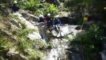 Canyoning Ardèche - Saut de la Dame : toboggan de 10m