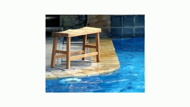 """New Grade A Teak Wood 33"""" Double Curved Seat Shower / Bath Room / Pool / Spa Stool Bench Review"""