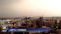 Dramatic footage of lightning striking Tokyo train